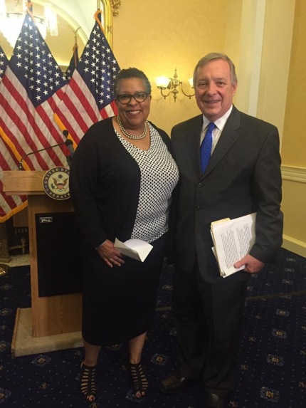 Wanda with Senator Durbin on the adoption of Amendment #4369 to the NDAA