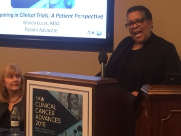 Wanda, sharing the importance of federally funded research on Capitol Hill on behalf of ASCO. February 2016.